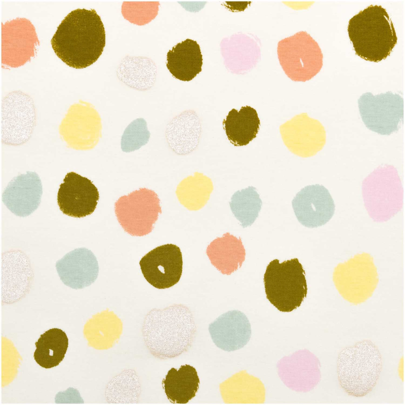 Tricot print | Dots - Rico Design | off white - yellow- mint