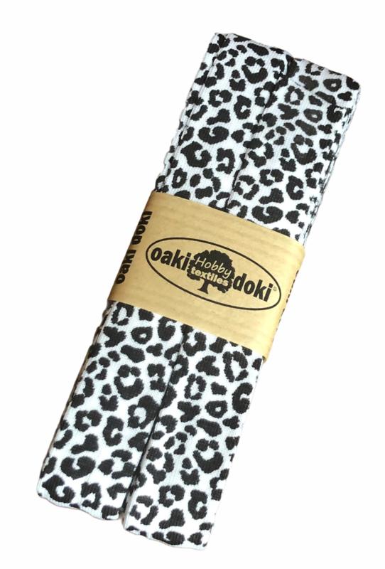 Tricot biaisband   Panterprint - Wit