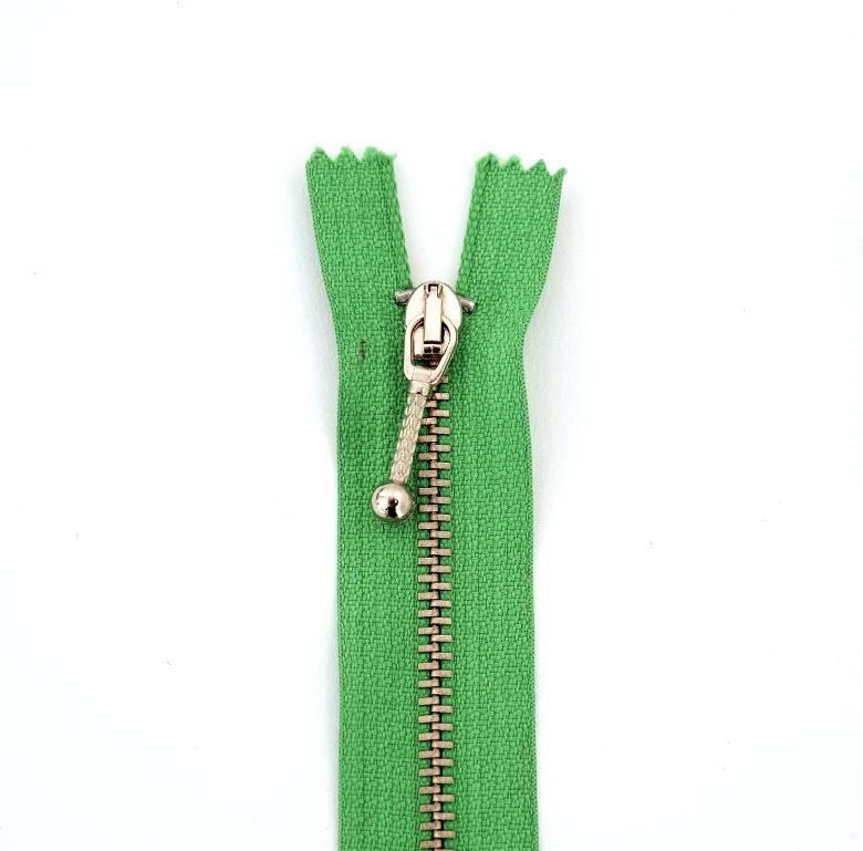 Rits metaal   15cm - Grasgroen
