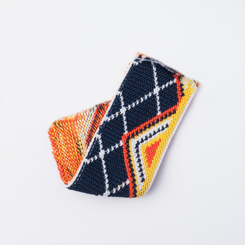 elastic jaquard graphic wave   navy   4 cm breed