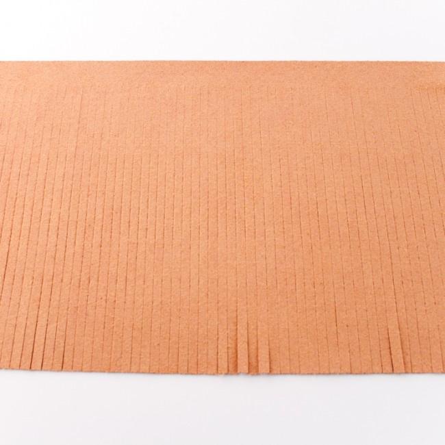 Suedine franjeband | Zalm 50006 | 12cm breed