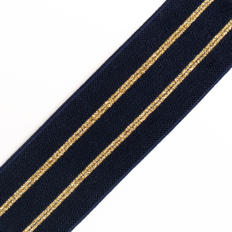 Elastiek Streep | Double face Soft | Navy - Gold Lurex | 4 cm breed