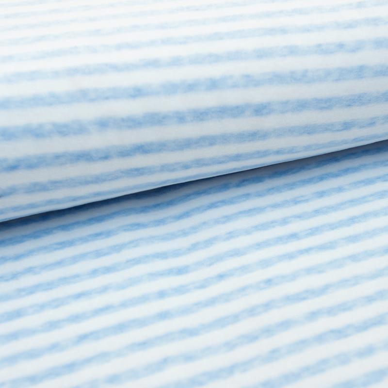 Nicky velours - Stripe  | White - Light Blue