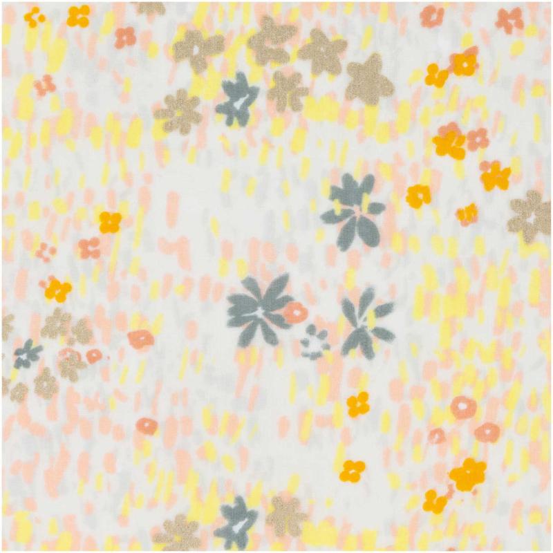 Katoen Print | Double Gauze | Yellow-Flower meadow-neon | Rico-Design
