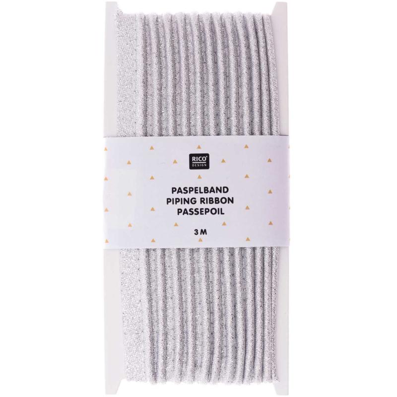 Paspelband katoen | Zilver | 3 meter | Rico - design