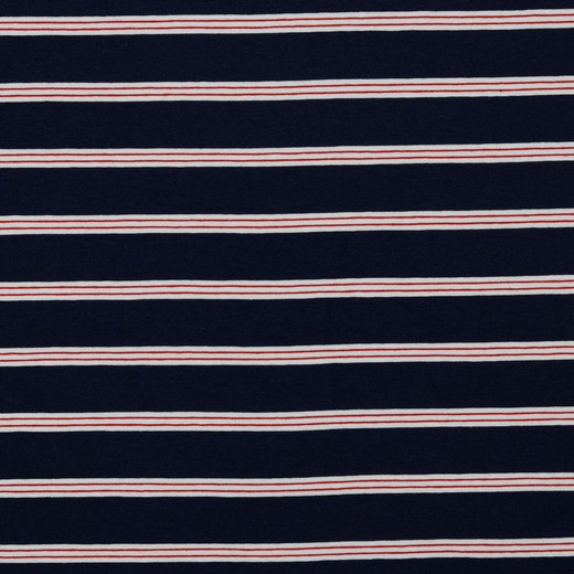 Tricot Streep | Navy  - Red