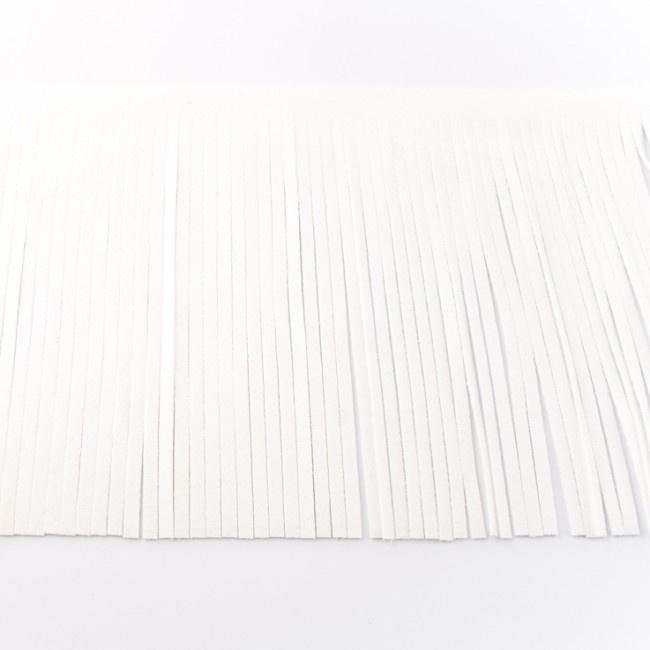 Suedine franjeband | Wit 28001 | 12cm breed