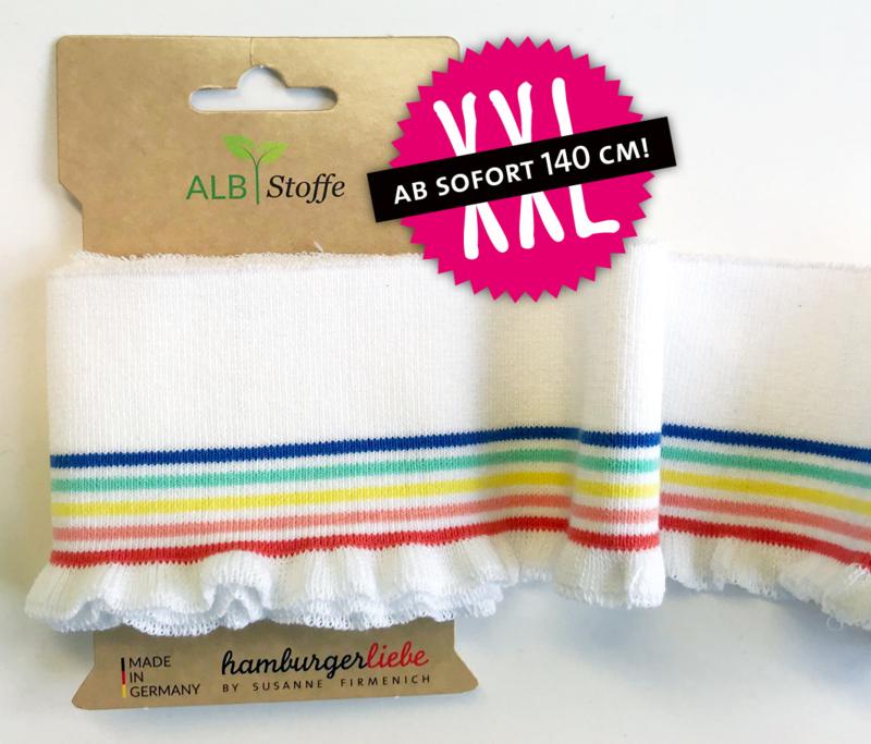 boordstof Hamburger Liebe | biologisch | Frill rainbow XXL col. 17