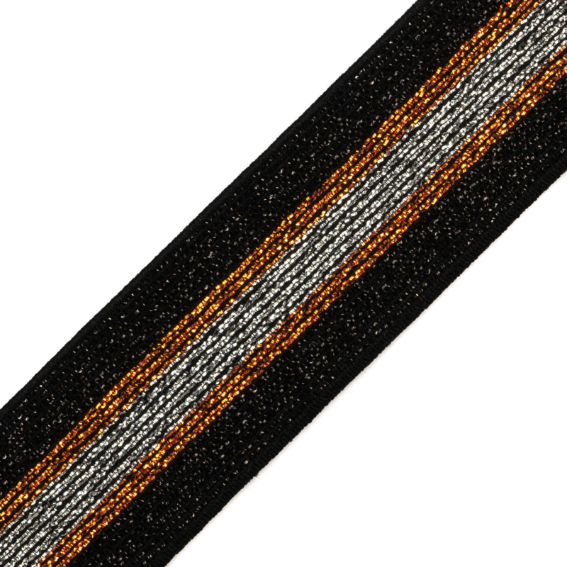 Elastiek  streep   3,5 cm breed   black - black /copper - silver lurex