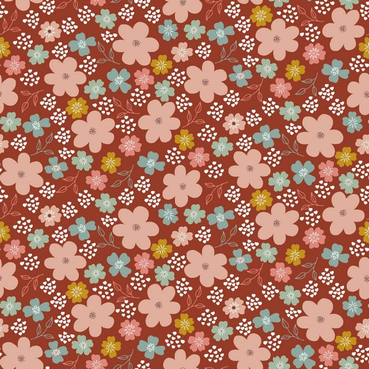 Tricot Print GOTS | Florals - Rust