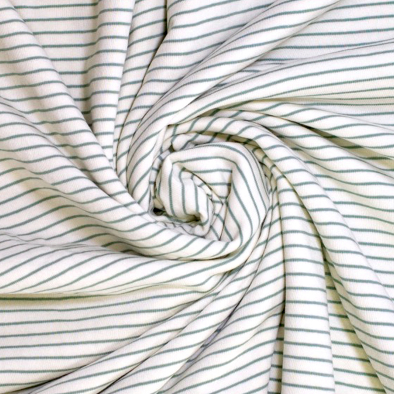 Badstof Stretch   Streep  - Groen