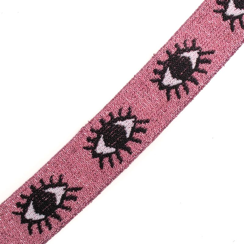 Elastiek  Jaquard | Eyes | Pink Base  |  Pink  lurex | 3 cm breed