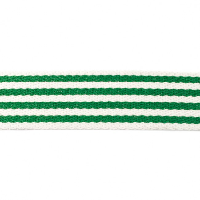 Tassenband Katoen | Streep - Grasgroen | 4cm breed