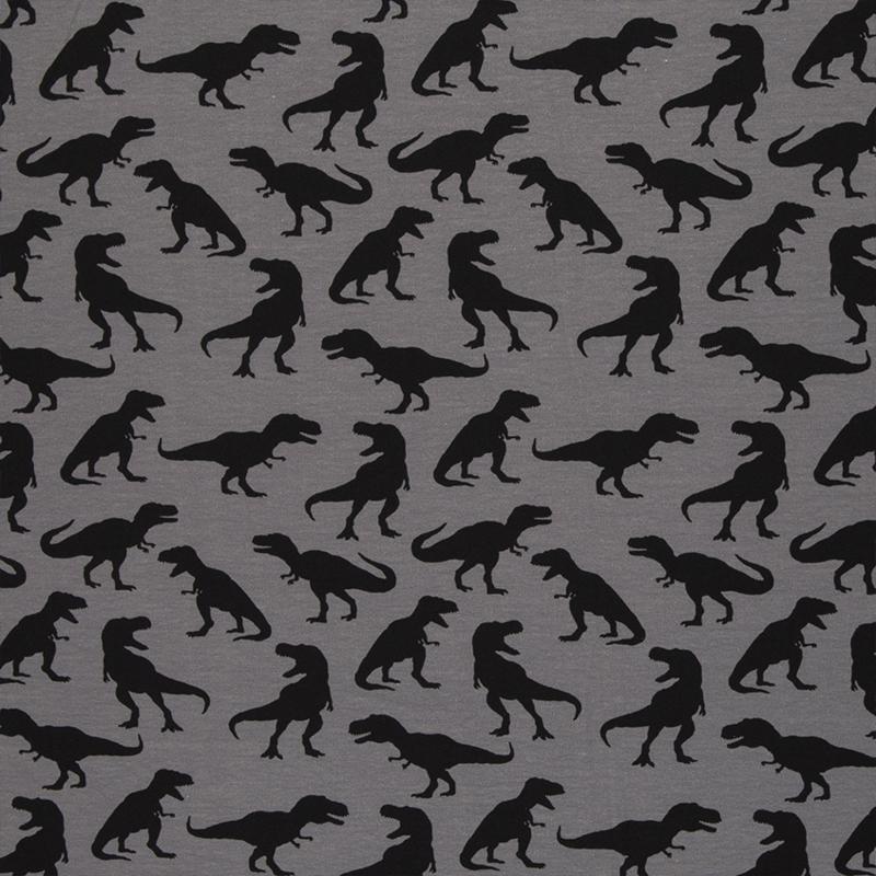 Tricot Print | Swafing - Steinbeck - Dinos | Grey - Black