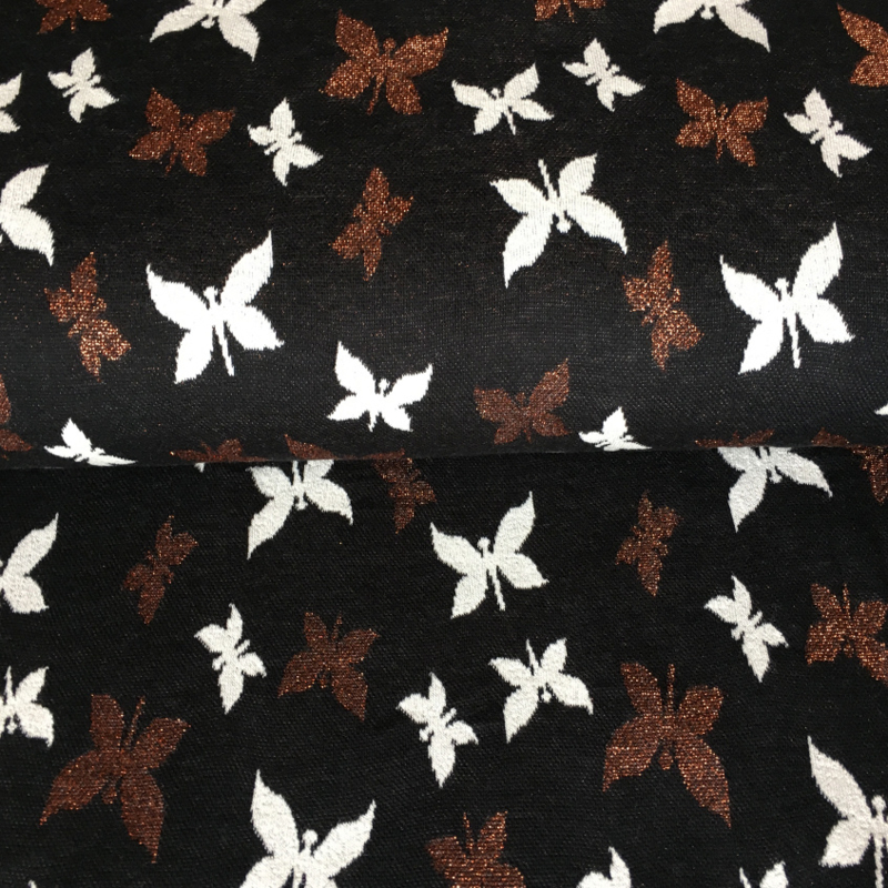 Jaquard tricot | vlinder zwart - glitter