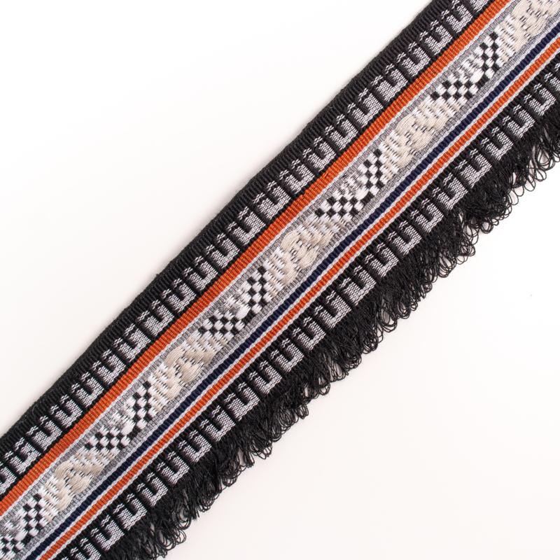 Band Jaquard   zwart - wit - roestbruin - lurex   Franje   4,3 cm breed