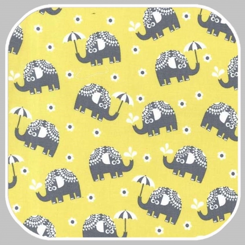 water for elephants on cotton flannel FX6288-CITRON