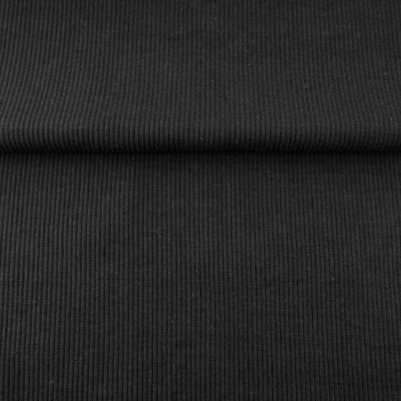 tricot boordstof uni ribbel   zwart