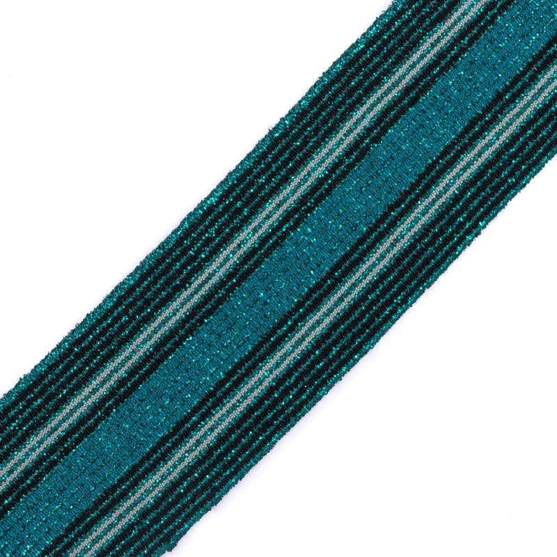Elastiek  | 5 cm breed | Multistripe Black - Teal - Petrol Lurex