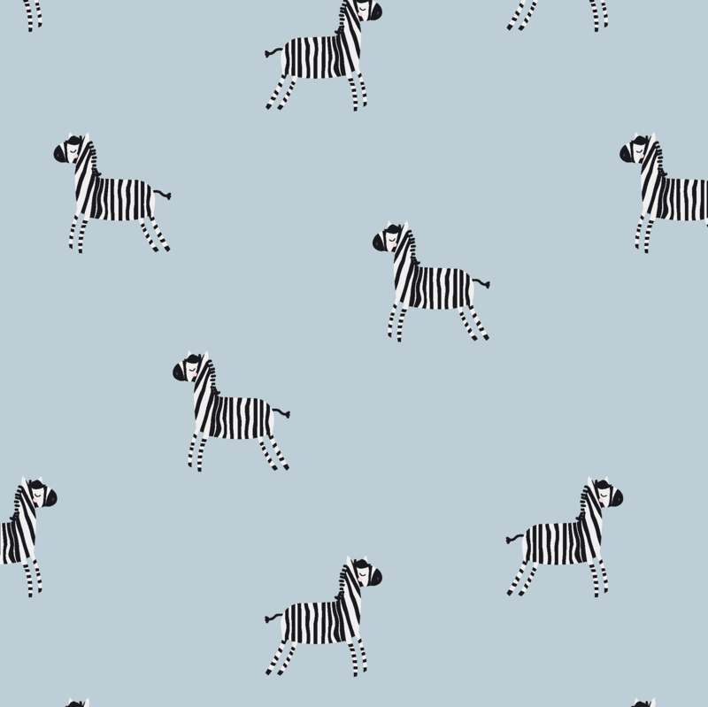 Tricot Print   Zebra - Blue