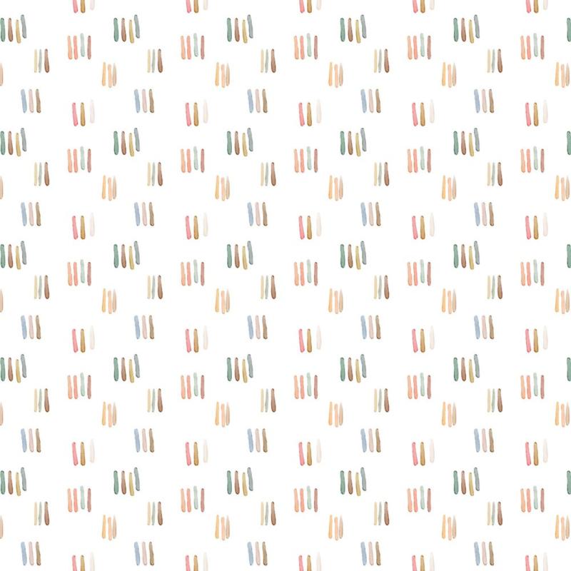 Jersey GOTS   Digital Watercolour - Stripes - Off White