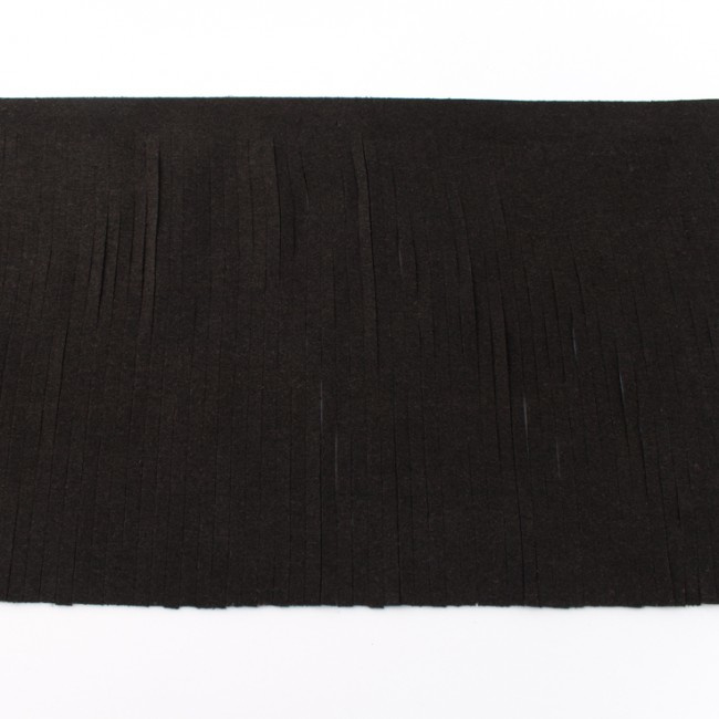 suedine franjeband |  Zwart 28000 | 12cm breed