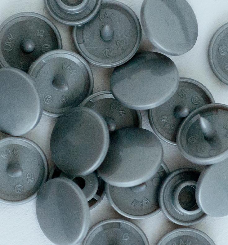 Kamsnaps - 12.4 mm - 25 stuks - Grijs