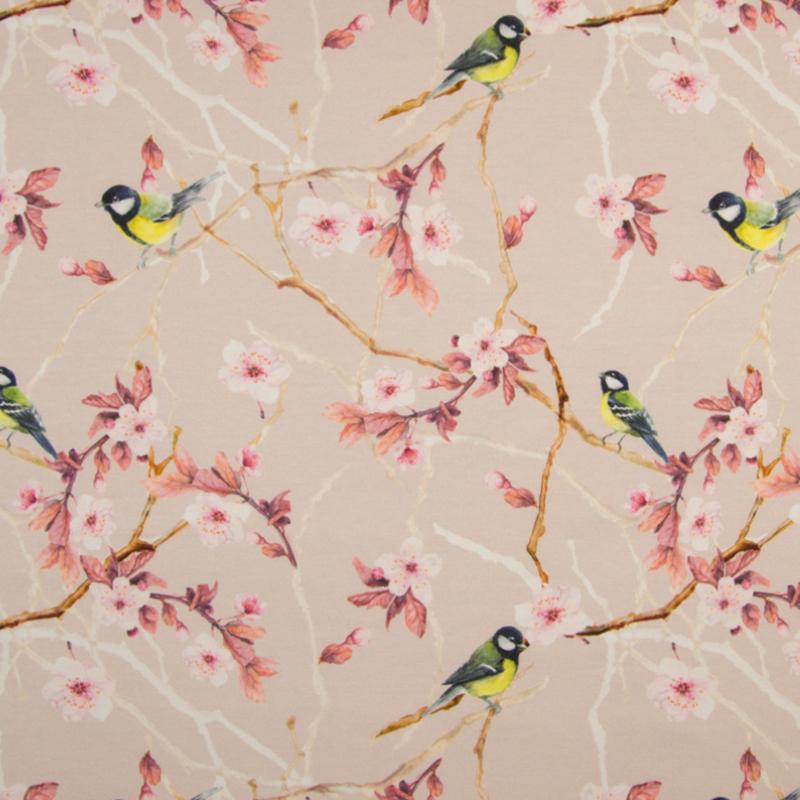 Tricot Digitaal | Japanese flowers - Bird - Pink