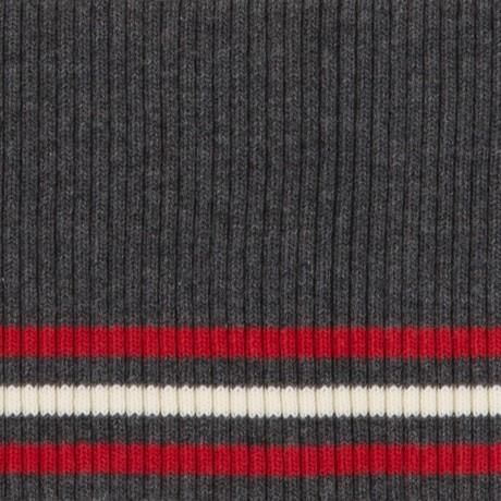 Tricot boord | Grijs - Ecru - Rood | Dunne streep