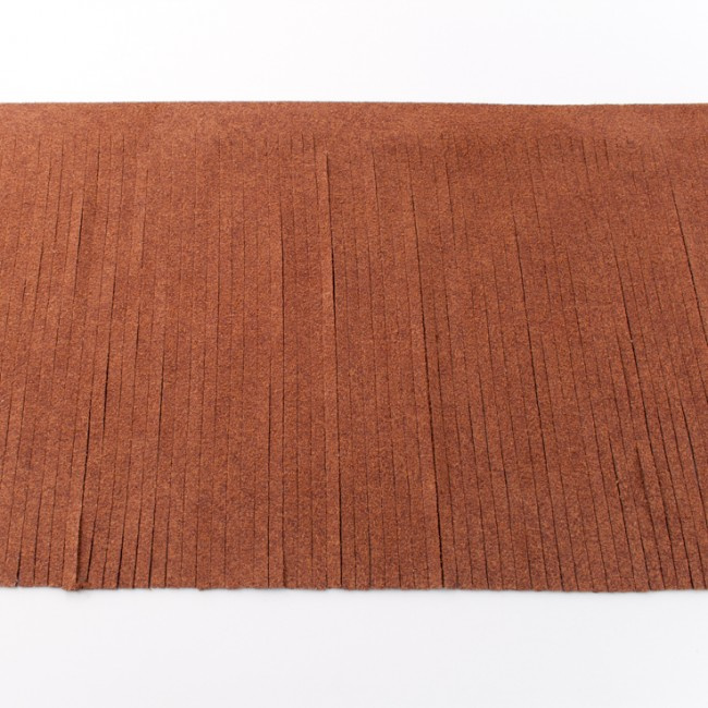 suedine franjeband | Lichtbruin 28007 | 12cm breed