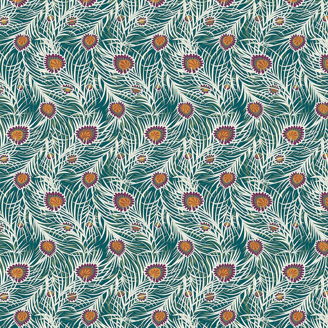Liberty of London |  Pipers Peacock Lasenby Cotton -Dark Green