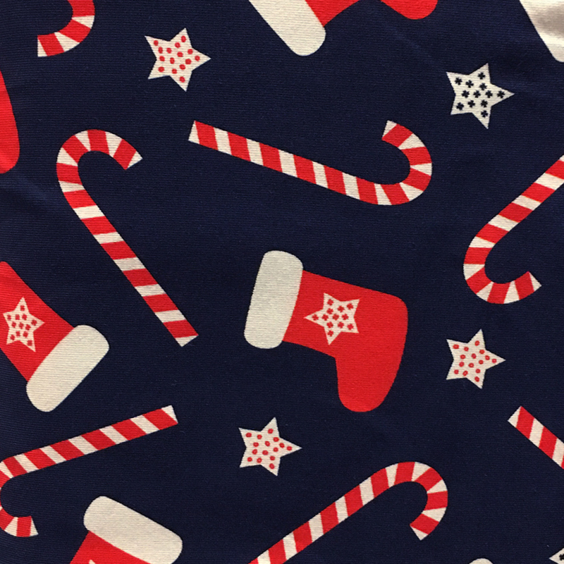 Tricot Print Swafing   Kerstsok - Navy