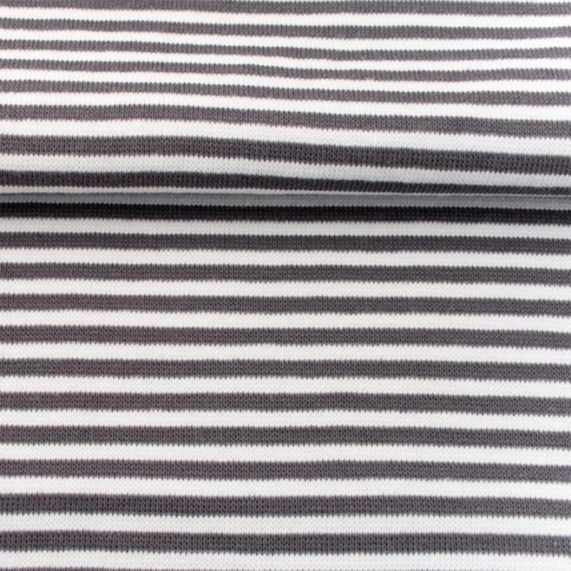 tricot boordstof streep | wit - donkergrijs