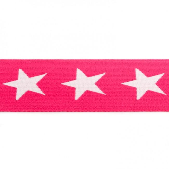 elastiek band- ster fuchsia/ 4 cm