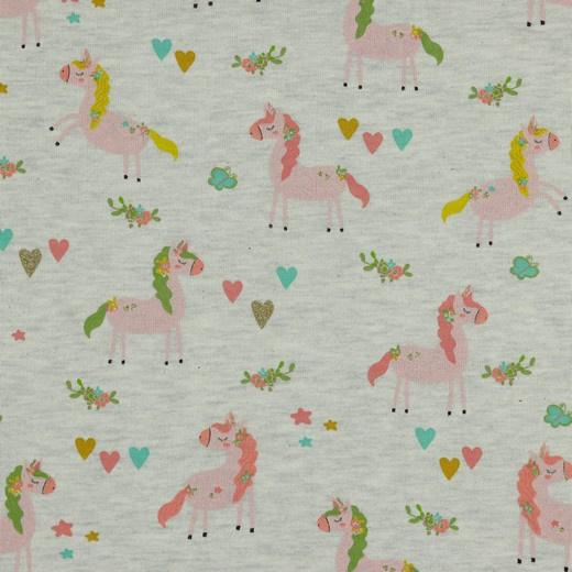 Sweat Glitter   Unicorn Party - Ecru Melange