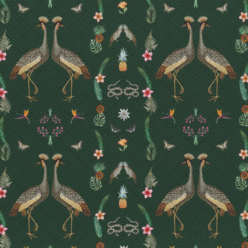 Decostof   Kraanvogel   Groen