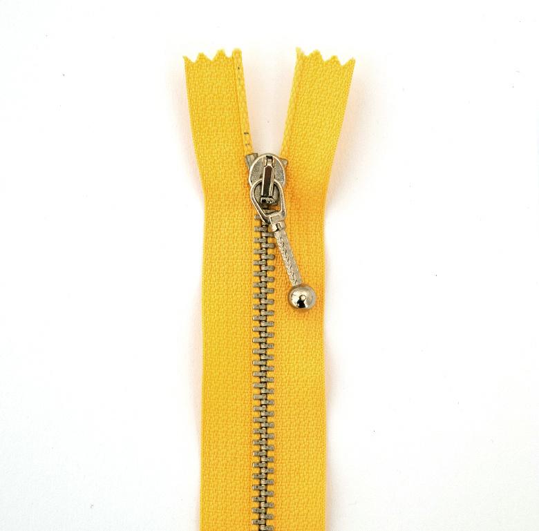 Rits metaal   18 cm - Geel