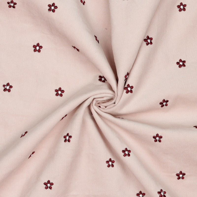 Baby Cord 21W - Embroidery - Pink