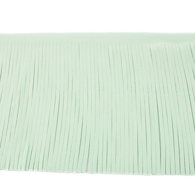 Suedine franjeband | Mint | 12 cm breed