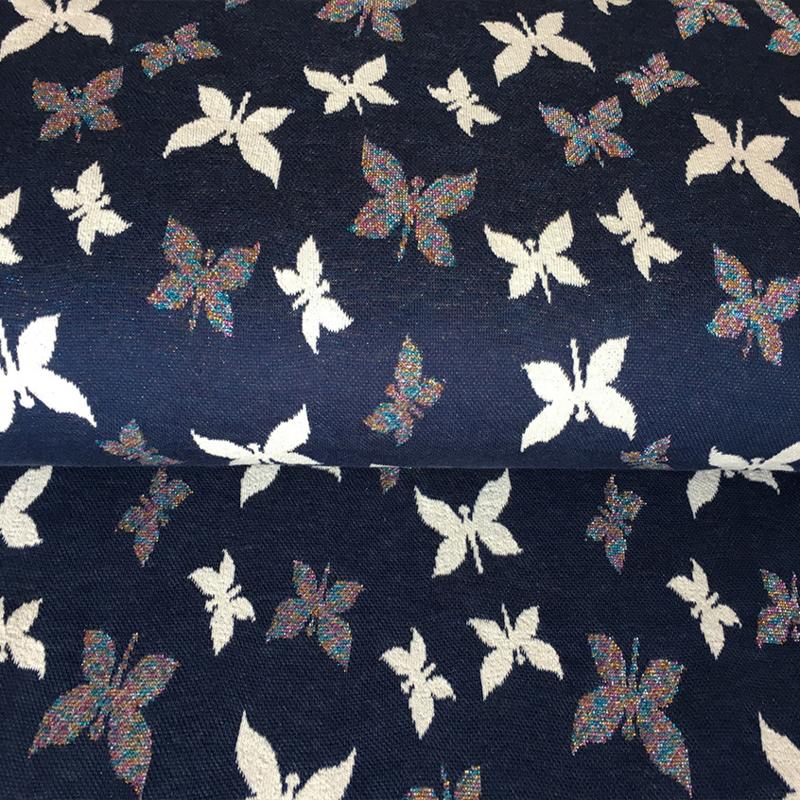 Jaquard tricot | vlinder blauw - glitter