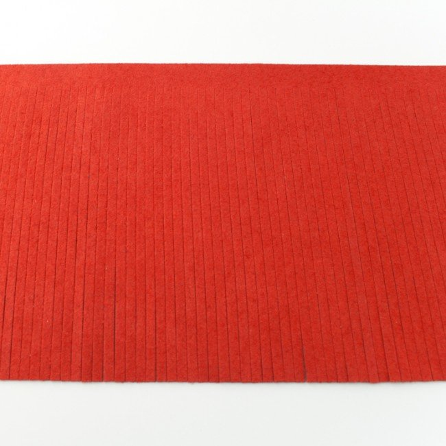 Suedine franjeband   Steenrood 50001   12cm breed