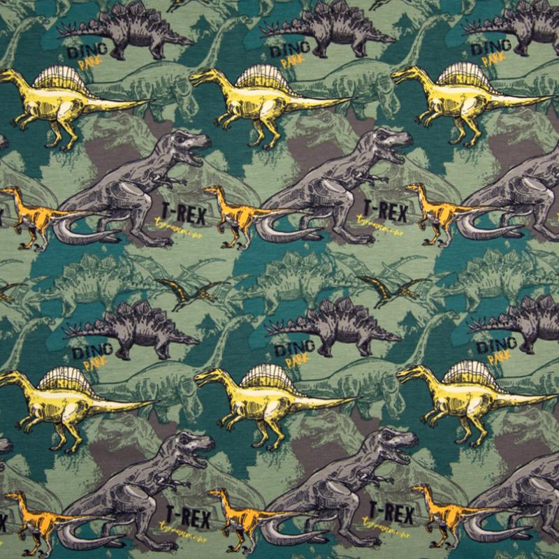 Tricot Print   Dino - Armygroen