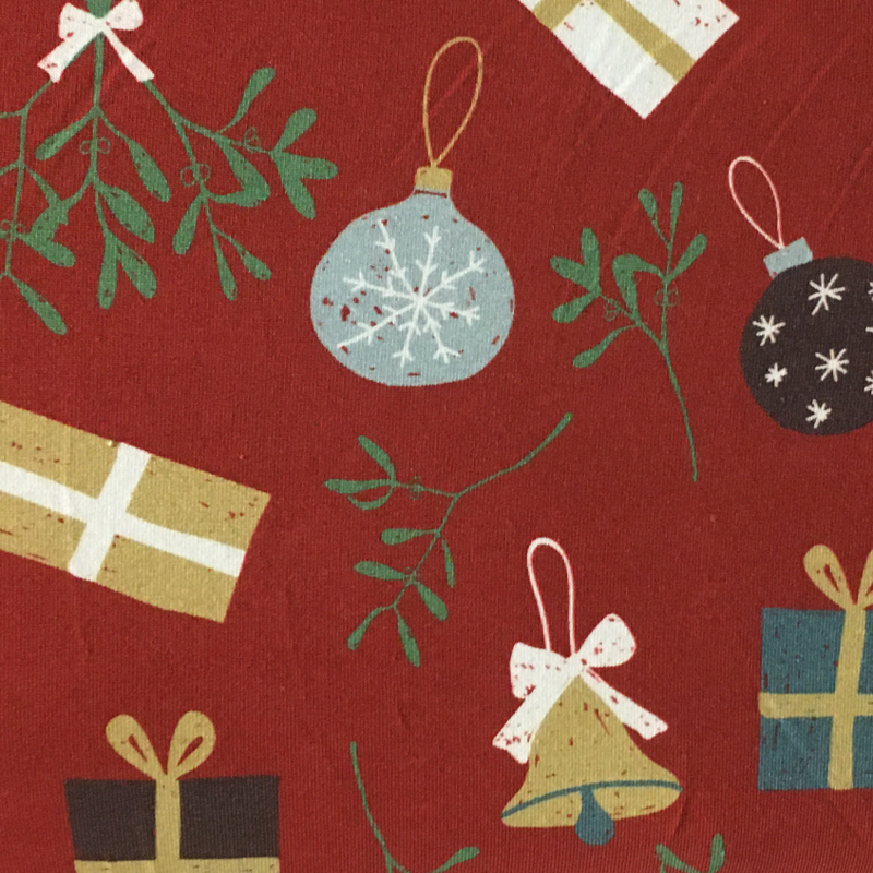 Tricot Print Swafing | Kerstbal  - Donkerrood
