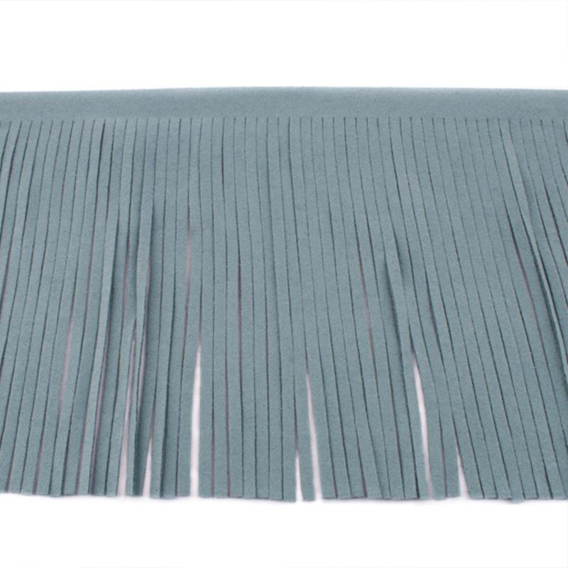 Suedine franjeband   Grijsblauw   12 cm breed