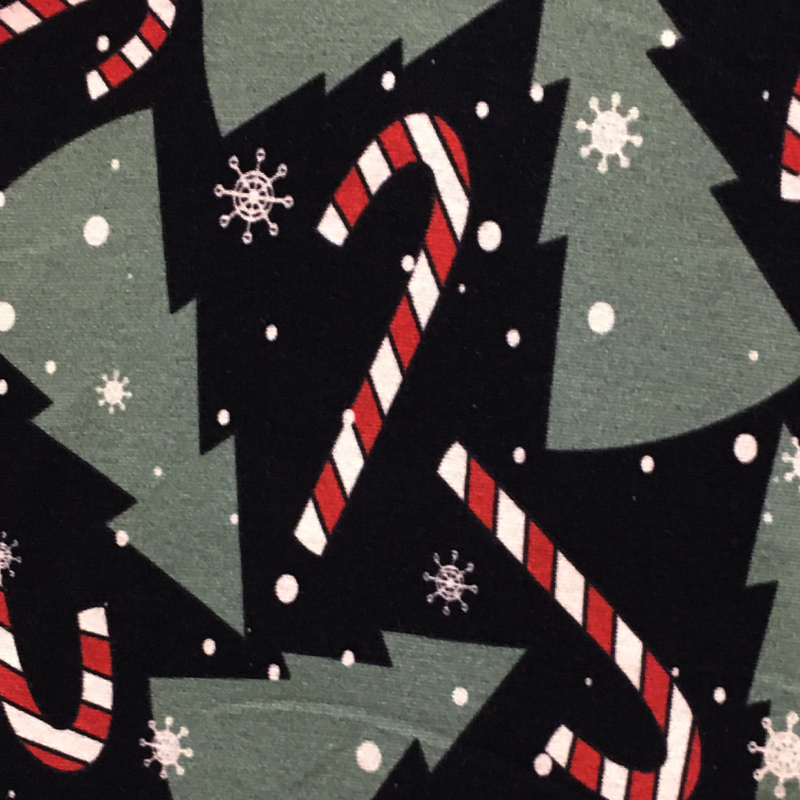 French Terry Print  Swafing | Kerstboom -  Zwart