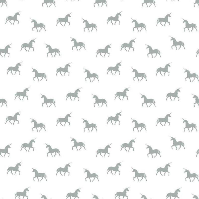 double gauze |  unicorn | white - petrol