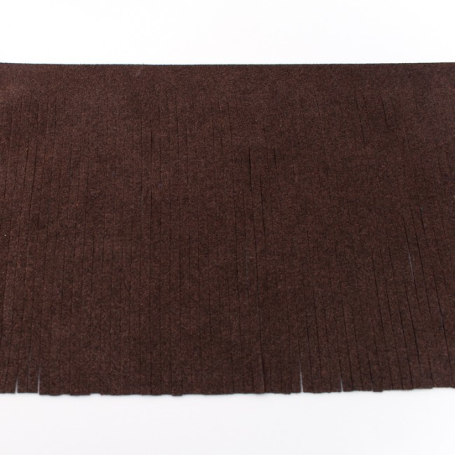 Suedine franjeband | Donkerbruin 28008 | 12cm breed
