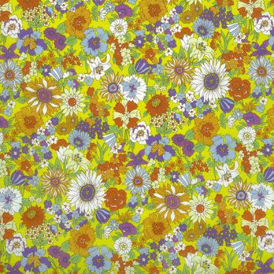 Kokka |  Retro Collection | Lawn |  Flowers -  Yellow  - Blue