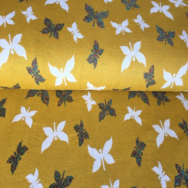 jaquard tricot | vlinder geel - glitter