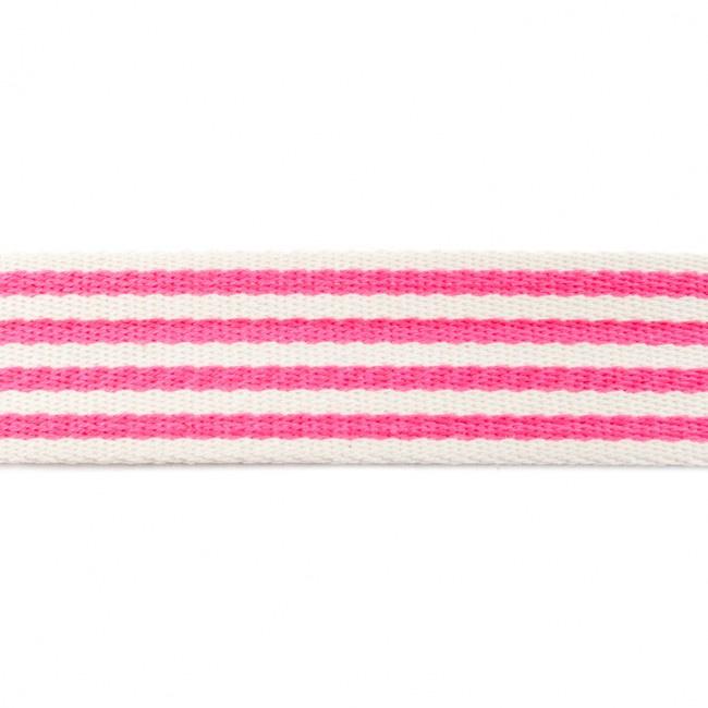 Tassenband Katoen | Streep - Fuchsia | 4cm breed